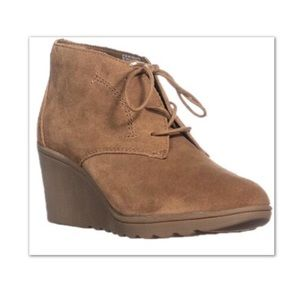 White Mountain Kahlua Lace Up Wedge Booties